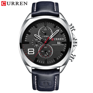 Image 2 - CURREN Reloj de pulsera deportivo para hombre, correa de cuero, cronógrafo, resistente al agua, 30 M, 2019