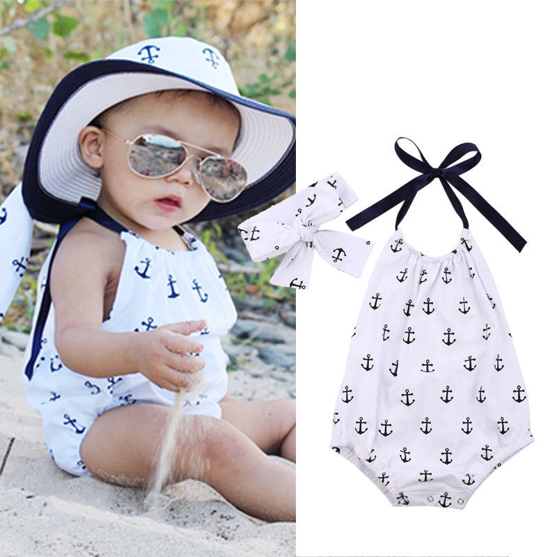 Newborn Kids Infant Baby Girl Jumpsuit Anchor Printed Bodysuit Clothes Outfit + Headband 2016 fashion anchor printed square new composite linen blend pillow case