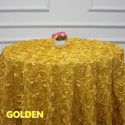 rosette table cloth Gold colour rosette embroider table cover 3D rose flower for wedding hotel party round tables decoration