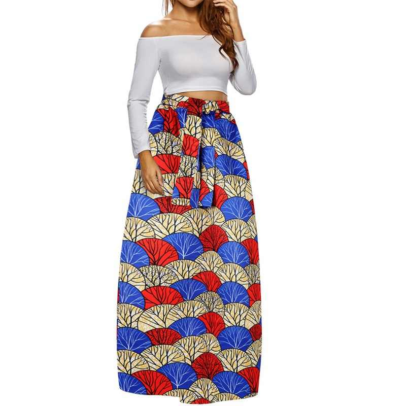 9606333885bd ... Women Fashion Fall Maxi Skirt Elegant Floral Print Retro Style  Petticoat Loose High Waist Beach Boho ...