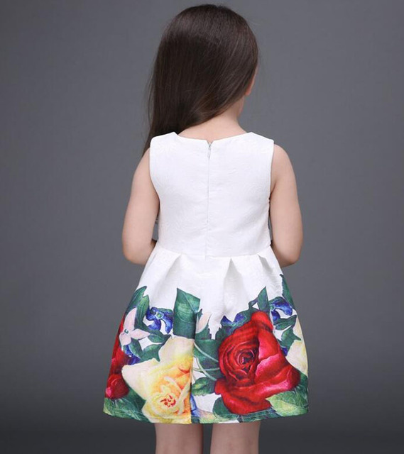 2017 new summer girls dress white designer brand new children clothing rose flower princess wedding party Lace girl clothes 5
