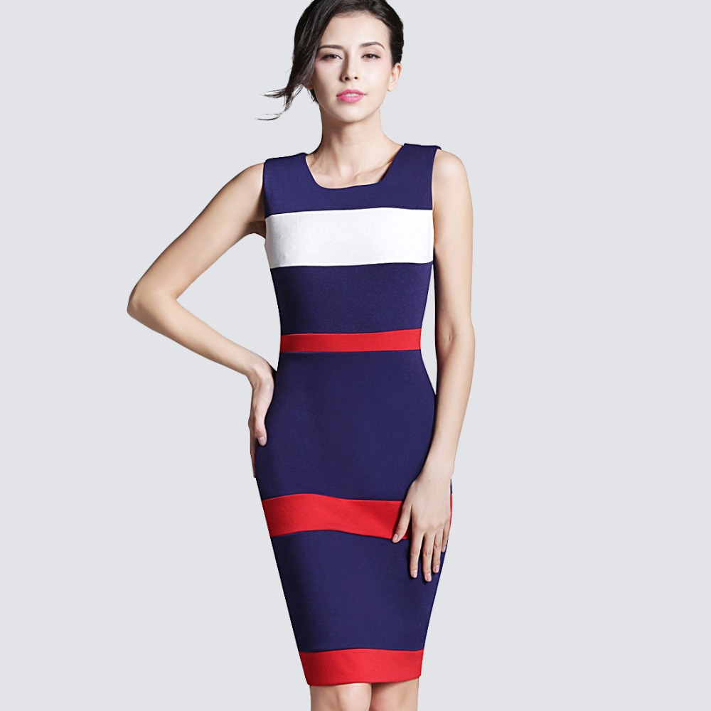 Buy Cheap Women Sheath Patchwork Striped Elegant O-Neck Dark Blue Summer Dress Sleeveless Formal Bodycon Knee-Length Office Dress B275