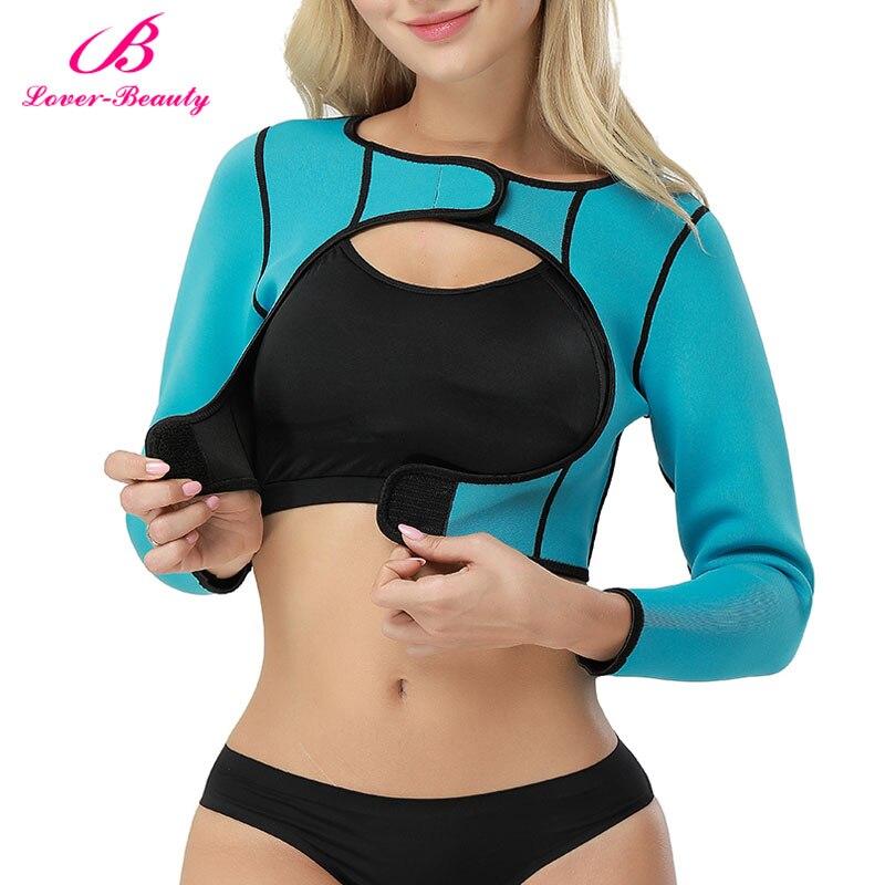 Lover Beauty Womens Shapewear Tops Long Sleeve Crop Top Arm Shapers Neoprene Firm Control Fat Burner Seamless Body Shaper-A