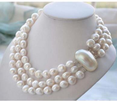 925 argent véritable véritable naturel 8-9mm 3ROW BAROQUE blanc perle d'eau douce collier femmes bijoux conception en gros