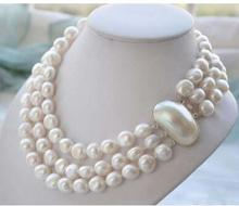 925 silver real genuine natural 8-9mm 3ROW BAROQUE WHITE FRESHWATER PEARL NECKLACE women jewelry design wholesale