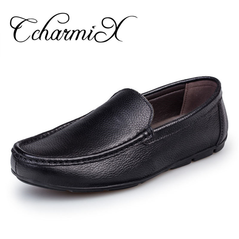 CcharmiX Big Size 38-47 Mens Dress Italian Leather Shoes Slip On Luxury Brand Mens Loafers Genuine Leather formal Moccasins Men desai brand italian style full grain leather crocodile design men loafers comfortable slip on moccasin driving shoes size 38 43