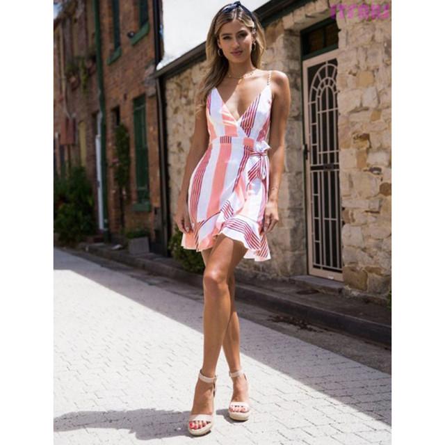 Pink White Striped Mini Dress