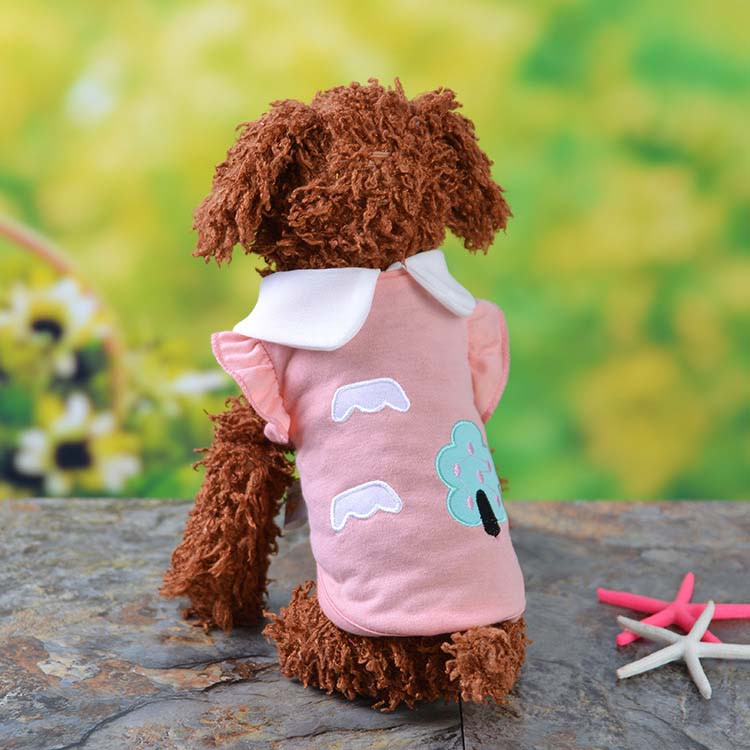 Fresh Cute Dog Coat Shirt For Small Dogs Puppy Pet Cotton T-shirt Vest Teddy Chihuahua Clothes in Spring and Summer Blue Yellow Pink Purple9