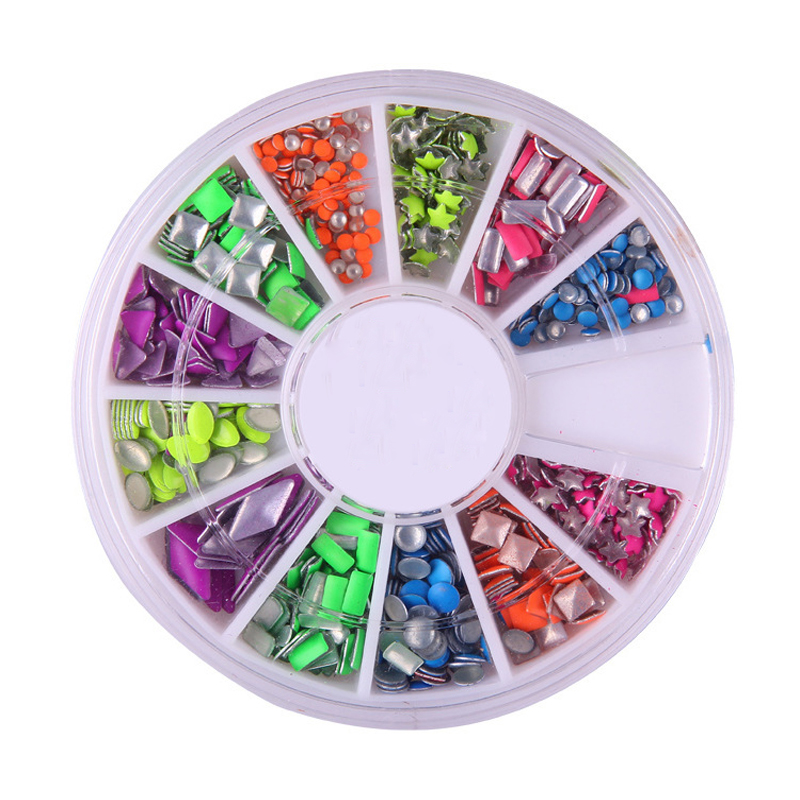 Rhinestones For Nails Metal Drill Nest Nail Shape Color 3d DlY Nail ...