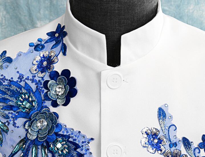 Блейзер Мужской китайский туника костюм мужские свадебные костюмы блесток певица звезда Стиль хор сцена цветок из текстиля бальное платье homme - 4
