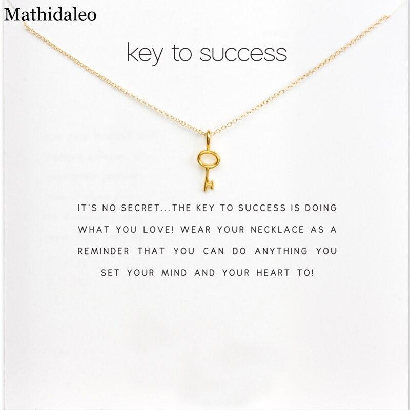 Inspiration Design Key to Success Necklace Gold Color Pendant Necklace Clavicle Chain St ...