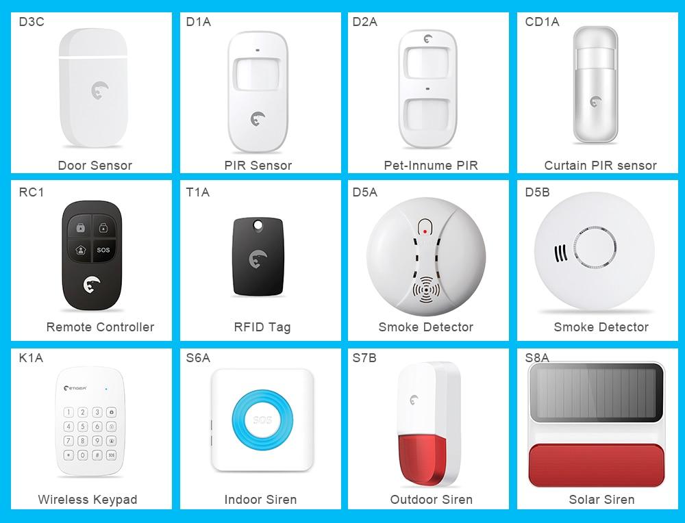 Free Shipping Etiger Alarm Sensor And Accessories Door Window Sensor PIR Motion Sensor Indoor Outdoor Strobe Flash Siren