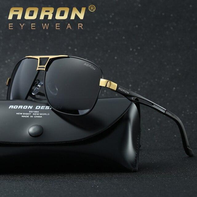 b5c4873460 AORON Luxury Brand LOGO Original Box Polarized Sunglasses Mens Goggles  Women Designer Leisure Glasses glass de sol Eyewear 8521