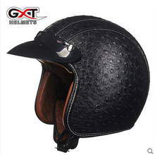 Pu Leather Harley Helmets motocross Chopper Bike helmet 3/4 open face vintage motorcycle helmet can add goggle mask