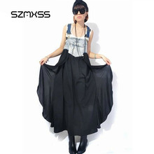 SZMXSS Maxi Dress Women Summer Denim Jeans Chiffon Patchwork Tank Dress Ladies Irregular Dresses Of The Big Sizes Vestido Longo