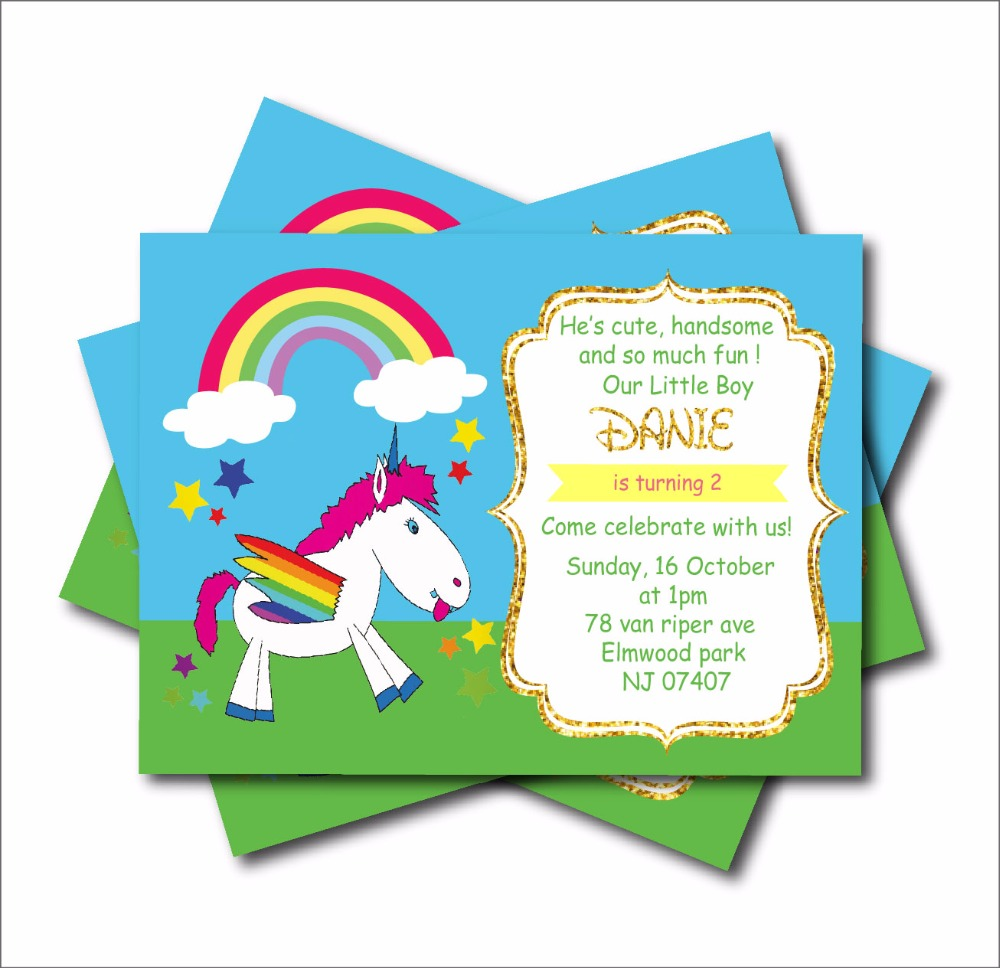 20 Pcs Lot Unicorn Rainbow Birthday Invitations Baby Shower Invites