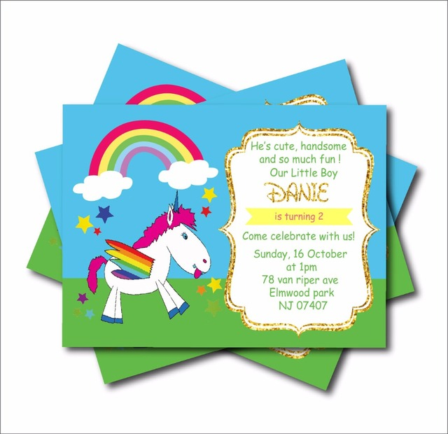 20 pcs lot unicorn rainbow birthday invitations baby shower invites
