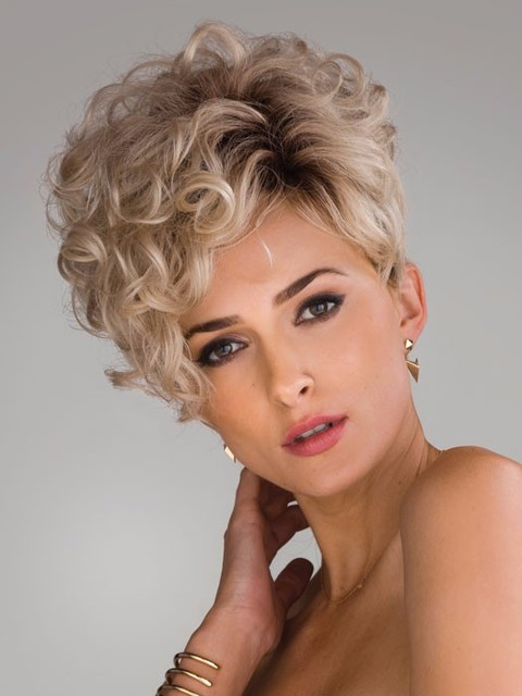 Short Blonde Curly Wigs For Women Asymmetric Pixie Hairstyle Kinky Curly  Hair Wigs Synthetic Short Curly Wigs Peruca loira Hot 9f507a435