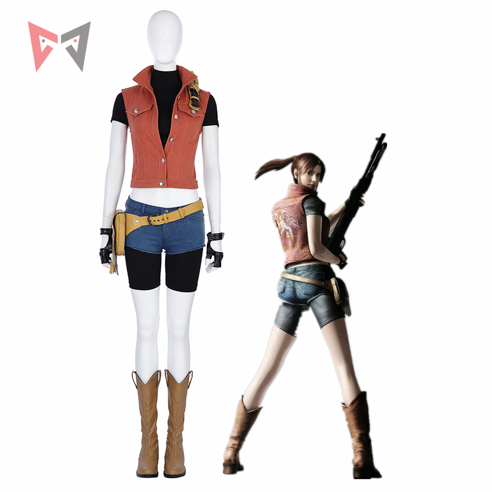 MMGG Halloween Resident Evil 7 Cosplay Claire Redfield cosplay costume Denim vest and shorts set high quality custom made size