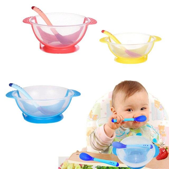 1 Pc antideslizante de la succión de la Copa alimentación tazón para bebé de oído doble en forma de Niños de formación cuchara tazón conjunto