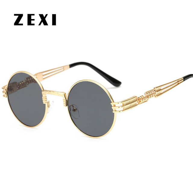 5ac69a61909 ZEXI Star Style Steampunk Sunglasses Round Sun Glasses John Lennon Gold Frame  Black Lens Vintage Small