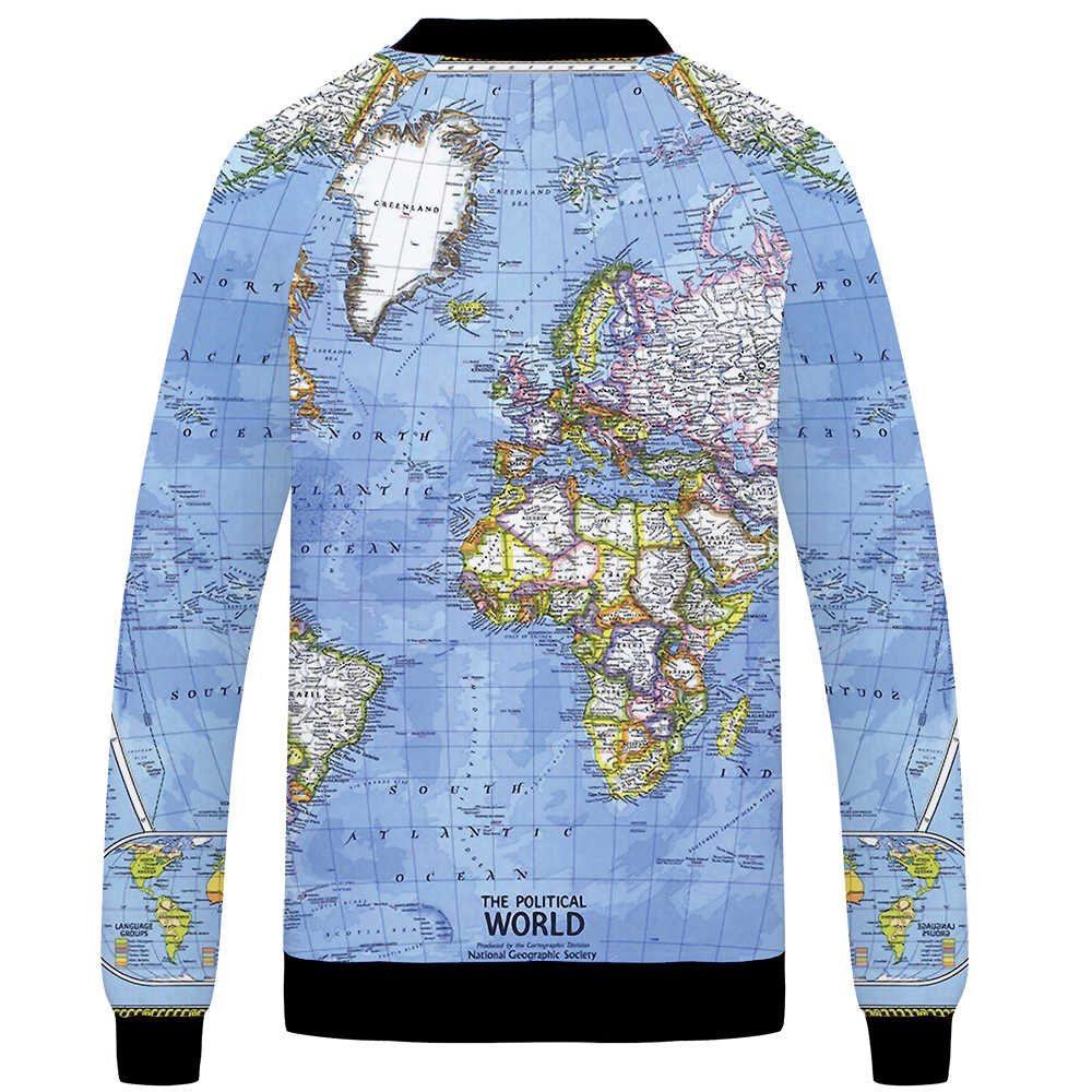 Detail Feedback Questions about KYKU World Map Jacket Men Blue ...