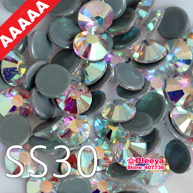 AAAAA Quality Hotfix Strass Clear AB Crystal AB SS30 Hot Fix Rhinestones  Flatback Iron On Stones d70bfaebcbaf