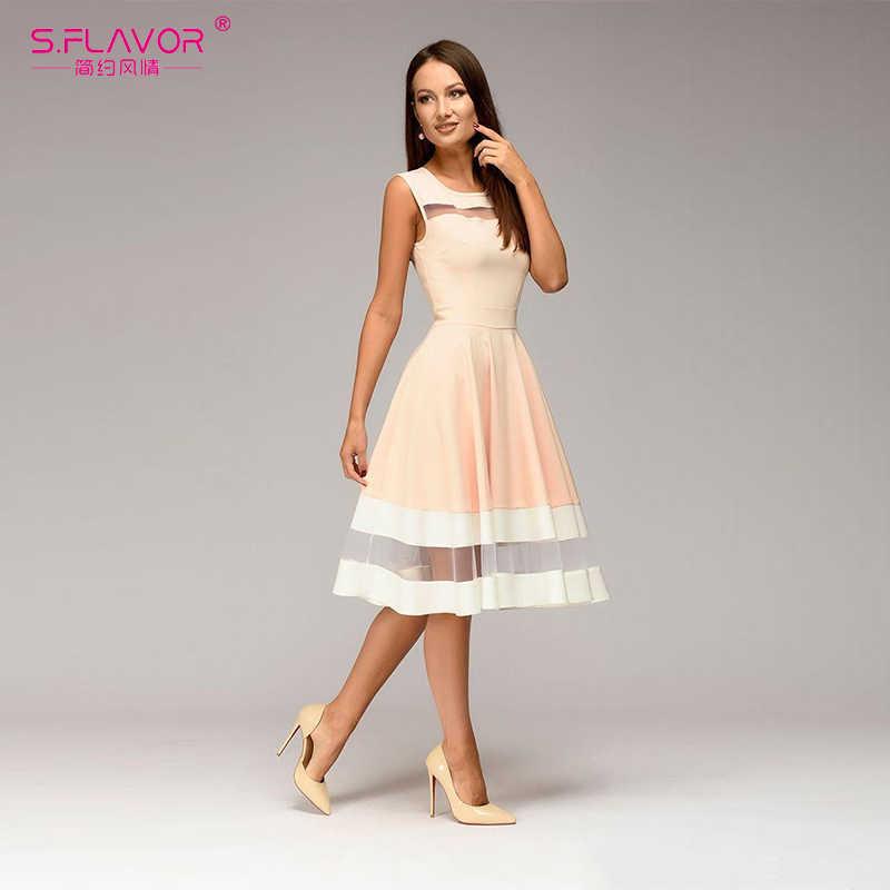 S. FLAVOR женское элегантное платье до колена сексуальное Сетчатое лоскутное платье с круглым вырезом А-силуэта Vestidos женское винтажное вечернее платье без рукавов