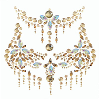 Body Glitter Jewels Women Breast Crystal Tattoo Sticker Sexy Gem Adhesive Nipple Cover INS Chest Paste for Party Halloween 1pc