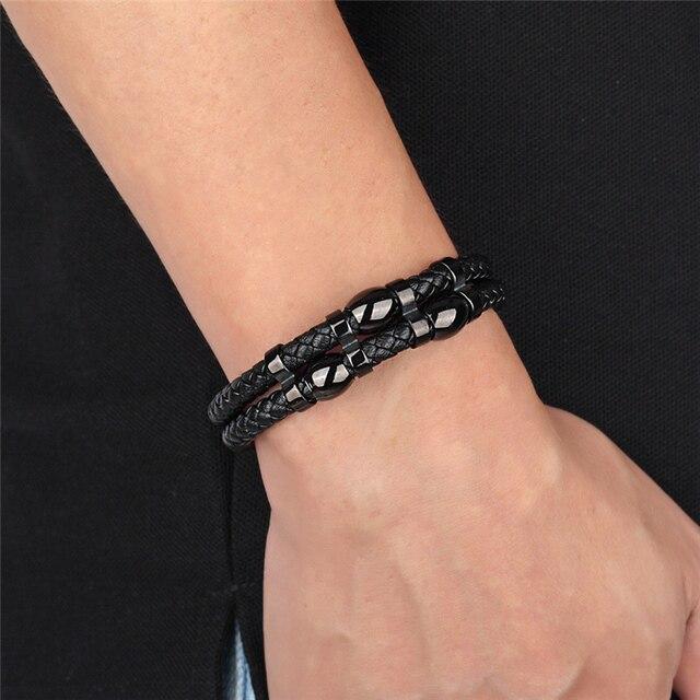 мужской многослойный кожаный браслет черный винтажный из нержавеющей фотография
