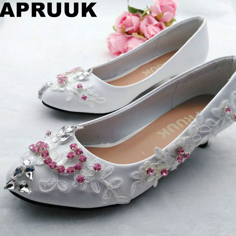 Pink crystal rhinestones wedding shoes bride white lace round toes small low heel lady female party