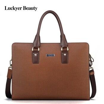 LUCKYER BEAUTY Brand Designer Brown Male Laptop Document Briefcase Leather Attache Portfolio Men Business Tablet Bags Maleta