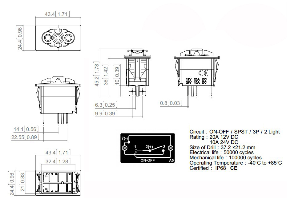 DC12V 24V Marine Grade ROTARY BEACON Rocker Switch White Led lamp 3 ...
