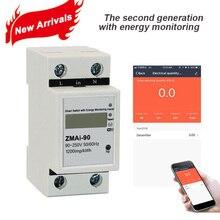 Wi-Fi Smart Life app 5 (60) однофазный din-рейку умный переключатель с контролем энергии какао энергопотребление для умного дома