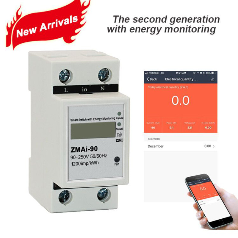 WiFi Tuya app 5(60)A Single phase Din rail Smart Switch with Energy  monitoring caculate Power Consumption for Smart home