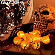 OurWarm 1.2M 10 LED Pumpkin Lights Hanging Halloween Decor Props Pumpkins String Party Supplies Home Decoration
