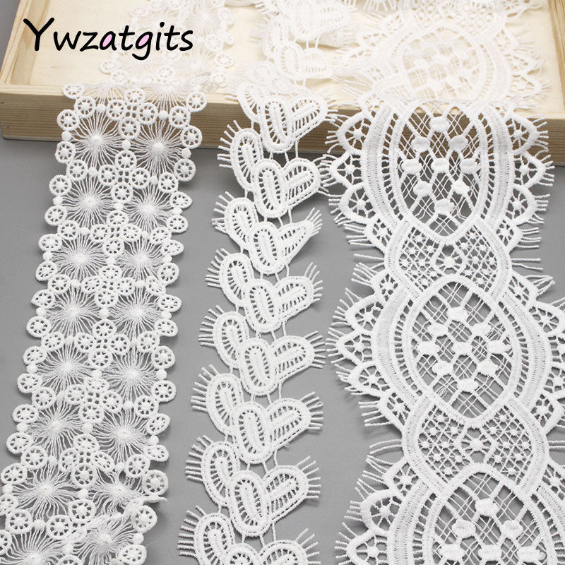 Ywzatgits 1 Yard/lot White Eyelash Embroidery Trim Lace