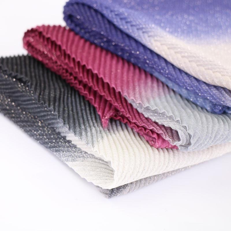 1pc Glitter Viscose Cotton Long Sarf Shawl Crinkled Color-match Headscarf   Wrap   Shimmer Lurex Muslim Hijab Islamic Women Headband