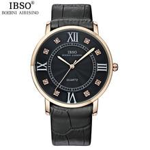 IBSO Original Partido de La Manera de Los Amantes Del Reloj de Cristal de Diamante de Las Mujeres Relojes de Lujo de Negocios de Cuero Genuino Correa Relojes Hombre