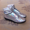 MMM mens shoes PU high top shiny colorful silvery man shoes 39-47