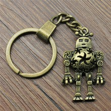 Keyring 3D Hollow Robot Keychain 42x25mm Antique Bronze Key Chain Party Souvenir Gifts For Women