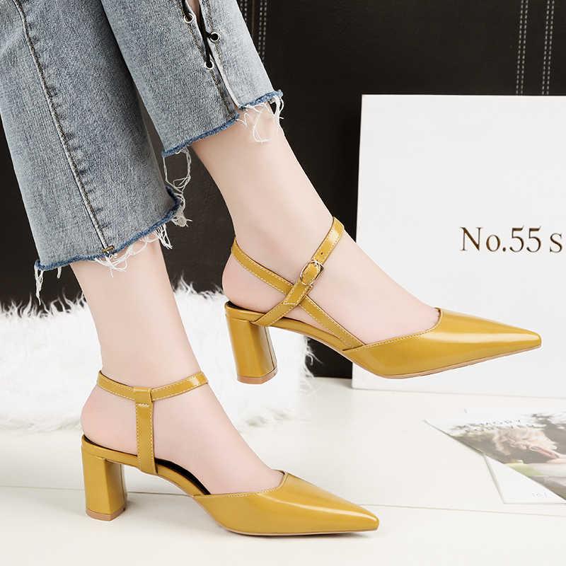 4d0f70eb5b4 2018 Woman Block High Heels Sandals Cute Yellow Pumps Mules Thick ...