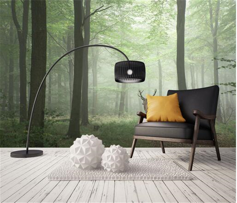 Customized 3d Photo Wallpaper Modern Minimalist Aesthetic Forest Morning Mist Elk Bedroom Living Room Tv Background