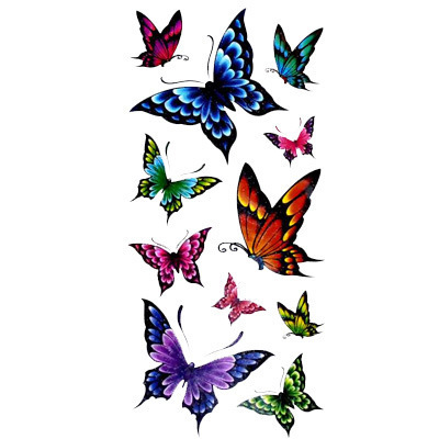 Colorful Girls Butterflies Temporary Tattoos Female Simulation Butterfly Tattoo Arm Stickers YM-X197