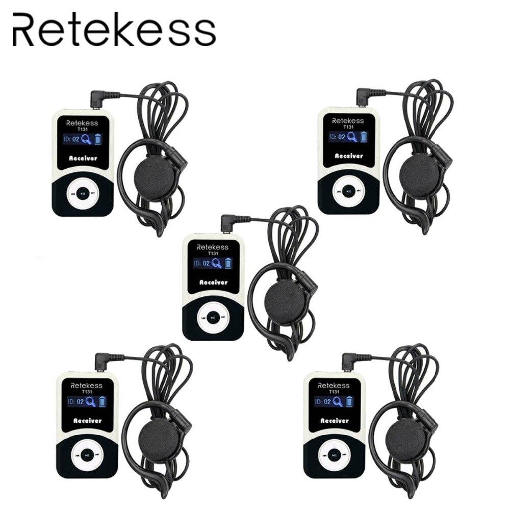 5 pcs RETEKESS T131 99 Canali Ricevitore Wireless Portatile Per Tour Guide System/Simultanea Meeting/Riunione Wireless/ chiesa