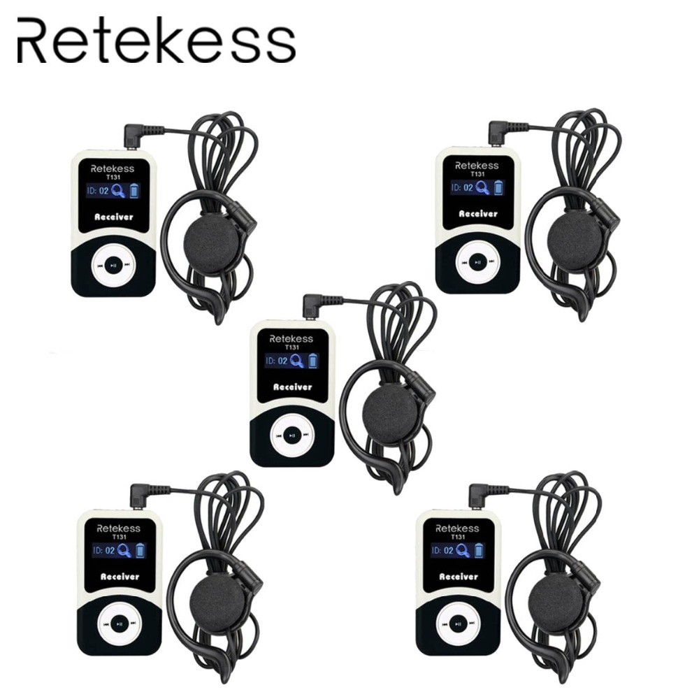 5pcs RETEKESS T131 99 Channels Portable Wireless Receiver For Tour Guide System/Simultaneous Meeting /Wireless Meeting/Church 5pcs RETEKESS T131 99 Channels Portable Wireless Receiver For Tour Guide System/Simultaneous Meeting /Wireless Meeting/Church