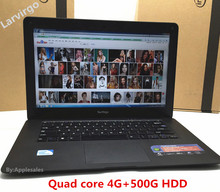 14 inch Laptop In-tel J1900 1.99GHz 4G 750GB HDD Quad Core Windows7/8/10 Wifi tablet USB3.0 PC notebook HDMI Computer