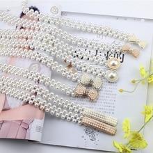 Хит, женский пояс с жемчугом, эластичная Пряжка, пояс с жемчужинами и цепочкой, женское платье для девочек, ремень с кристаллами, разные стили