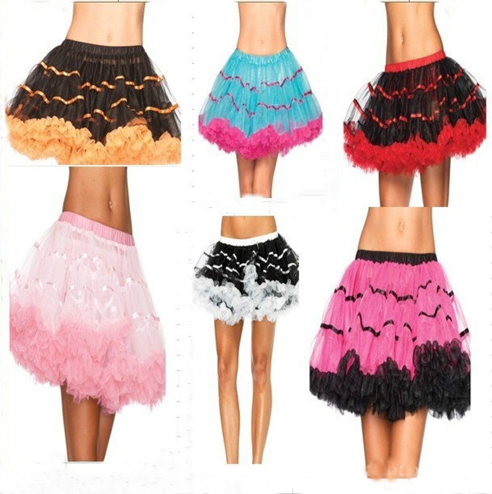6 color women vintage ballet tutu skirt lolita mini mesh skirt fairy style halloween carnival party ball gown petticoat - Halloween Petticoat