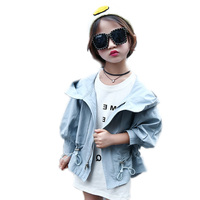 girls jackets and coats 2017 kids clothes autumn solid girls loose trench jackets casual cotton hooded children outwear 4-13T